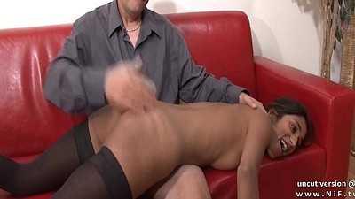 Hurl couch amateur french prop around a skinny young brunette analyzed