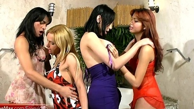 Ghetto-blaster chicks give blowjobs and ride thick schlongs in foursome