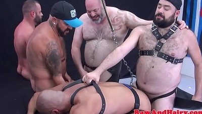 Bareback loving gays enjoy gangbang