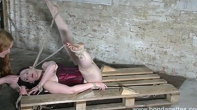 Titillating charm model Caroline Pierce lesbian bondage and tied damsel in distress ro