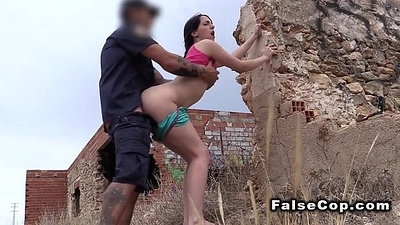 Fake cop bangs big pest babe open-air
