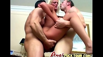 Blonde bitch acquires the brush both slots fucked in nasty threesome