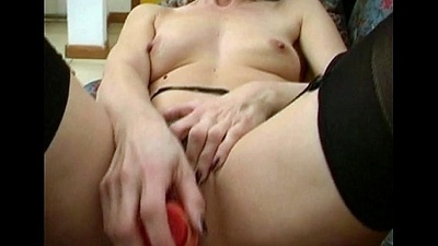 Sensual and hot amateur mummy in fuzz jerking off her pussy